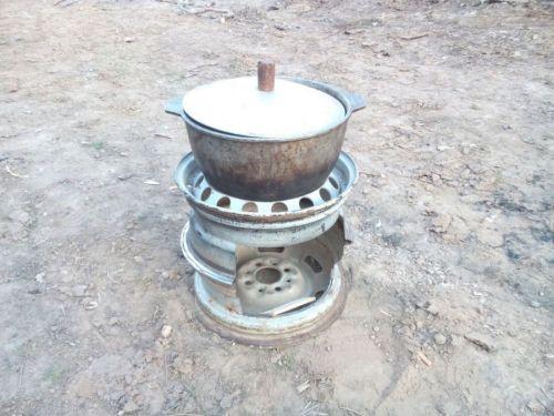 Печка из дисков с казаном