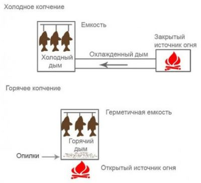 Схема холодного и горячего копчения