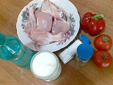 Курица, кефир, минеральная вода