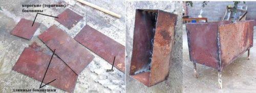 Сборка мангала из металлических листов