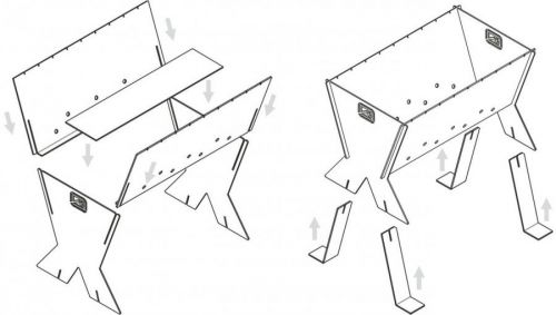 Схема самодельного разборного мангала