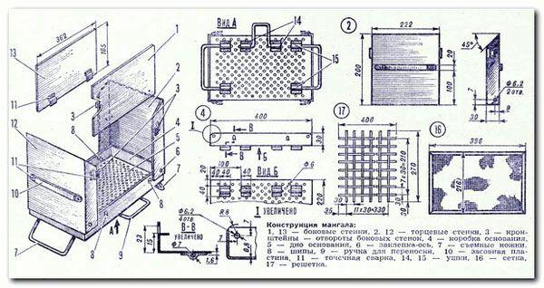 Схема мангала-чемодана