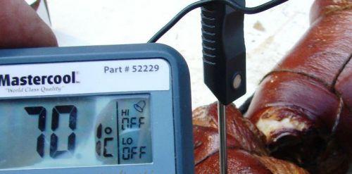 Проверка температуры мяса во время копчения