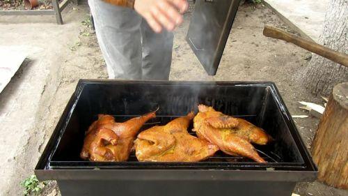 Копченая курица в коптилье