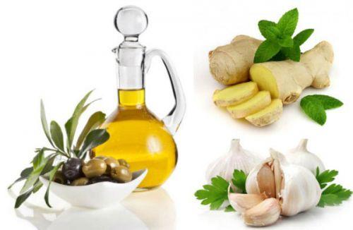Имбирь, чеснок, растительное масло