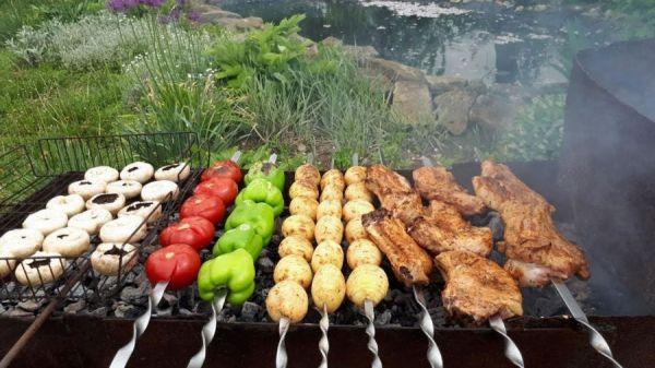 Шашлыки из овощей и свинины
