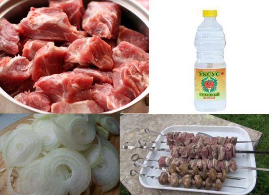 Свинина, уксус, лук, шашлык