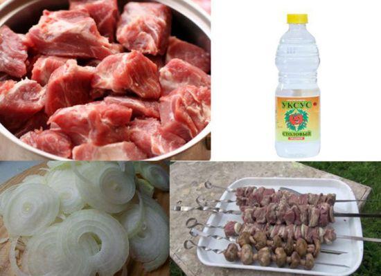 Мясо для шашлыков, уксус, лук
