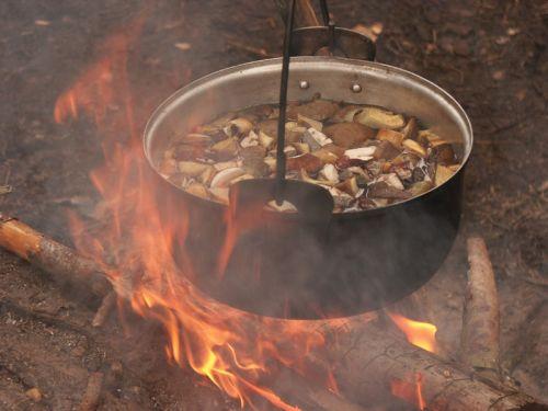 Грибной суп на костре