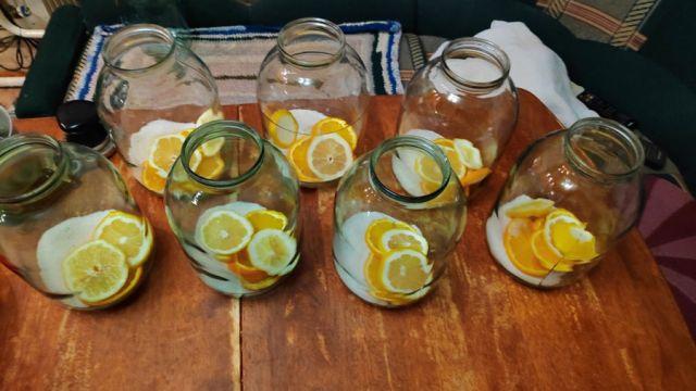 Заготовка сока с лимоном и апельсином