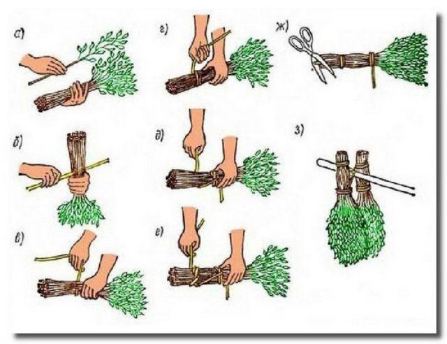 Техника вязания веников