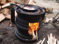 Печь под казан из колесных дисков