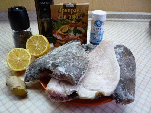 Ингредиенты для приготовления камбалы на гриле