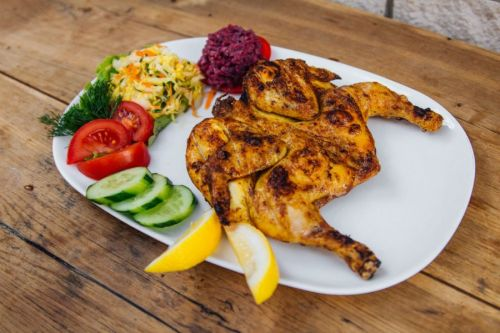 Курица гриль с овощами
